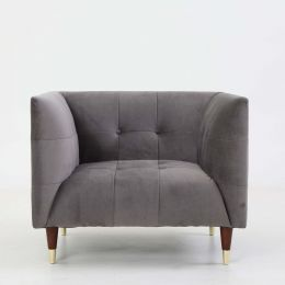 Frank Tuxedo Chesterfield Armchair (Grey Velvet)
