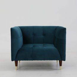 Frank Tuxedo Chesterfield Armchair (Turquoise Velvet)