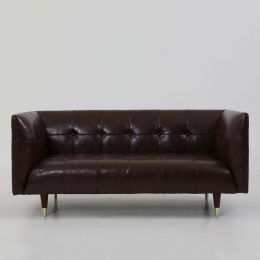 Frank Tuxedo Chesterfield 2 Seater Sofa (Brown Vintage Leather)