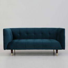 Frank Tuxedo Chesterfield 2 Seater Sofa (Turquoise Velvet)