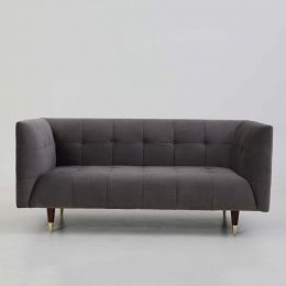 Frank Tuxedo Chesterfield 2 Seater Sofa (Grey Velvet)