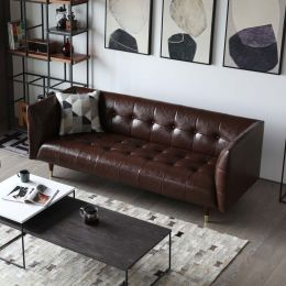 Frank Tuxedo Chesterfield 3 Seater Sofa (Brown Vintage Leather)