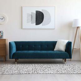 Frank Tuxedo Chesterfield 3 Seater Sofa (Turquoise Velvet)