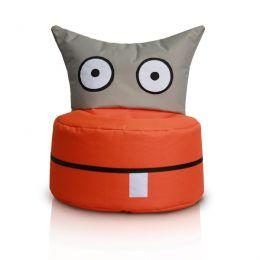 Happy Owl, Orange Grey Bean Bag