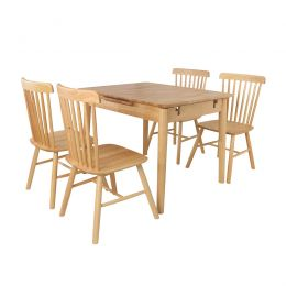 Hina Extension Solid Wood Dining Set