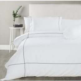 Hotelier Prestigio™ Check Black Embroidery Fitted Sheet