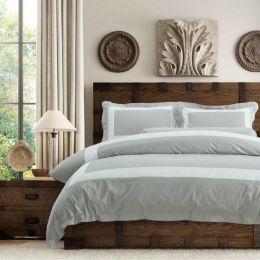 Hotelier Prestigio Luxury Cliff Grey Base White Border Bundle Bed Set