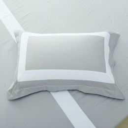 Hotelier Prestigio Luxury Cliff Grey Base White Border Pillow Case