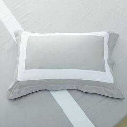 Hotelier Prestigio Luxury Cliff Grey Base White Border Pillow Case