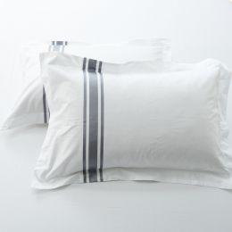 Hotelier Prestigio™ Luxury White Greyish Stripe Pillow Case
