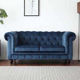Hugo 2 Seater Chesterfield Sofa - Blue Velvet (Water Repellent)
