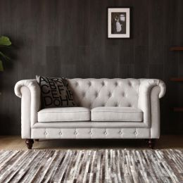 Hugo 2 Seater Chesterfield Sofa - Dove Grey