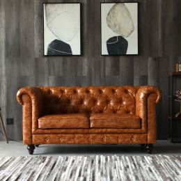 Hugo 2 Seater Chesterfield Sofa - Distressed Brown