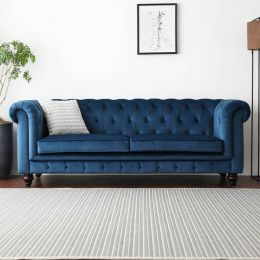 Hugo Chesterfield 3 Seater Sofa - Velvet (Stain Resistant)