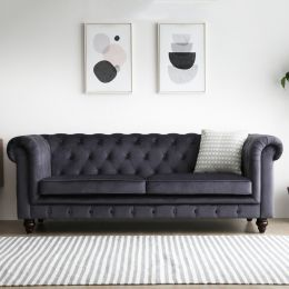 Hugo 3 Seater Chesterfield Sofa - Black Velvet (Water Repellent)