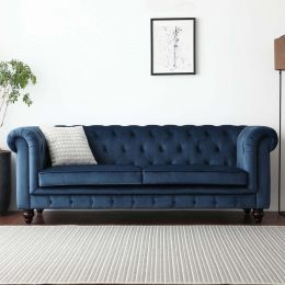 Hugo Chesterfield 3 Seater Sofa - Blue Velvet (Water Repellent)