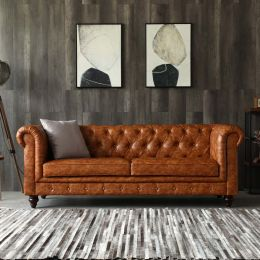 Hugo Chesterfield 3 Seater Sofa - Distressed Brown