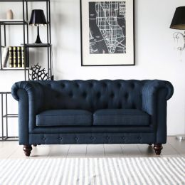 Hugo 2 Seater Chesterfield Sofa - Presidential Blue Fabric