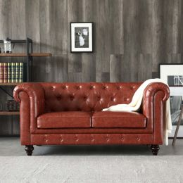 Hugo 2 Seater Chesterfield Sofa - Vintage Brown Leather