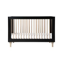 Lolly 3-in-1 Convertible Crib with Toddler Bed Conversion Kit (Black/Washed)