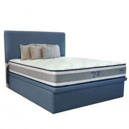 Maxcoil Ashley Island Mattress + Fabric Storage Bed Frame Set