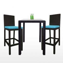 Midas 2 Chair Bar Set, Blue Cushion