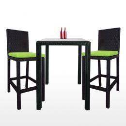 Midas 2 Chair Bar Set, Green Cushion