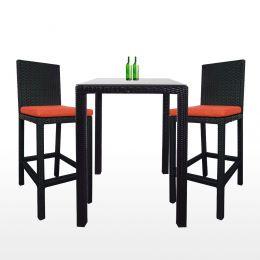 Midas 2 Chair Bar Set, Orange Cushion