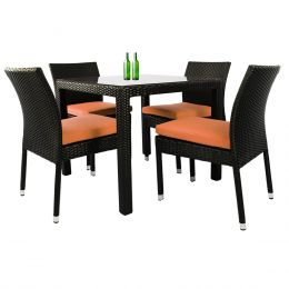 Monde 4 Chair Dining Set Orange Cushion