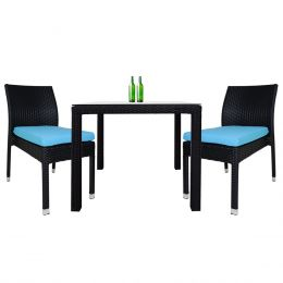 Monde 2 Chair Dining Set Blue Cushion