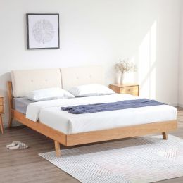 Nara American Oak Wood Bed Frame with Cushions (Beige)