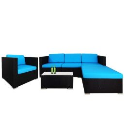 Summer Modular Sofa Set II, Blue Cushions