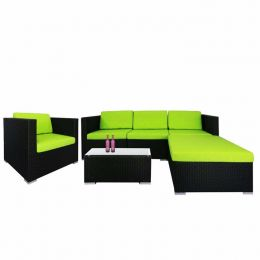 Summer Modular Sofa Set II, Green Cushions