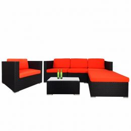 Summer Modular Sofa Set II, Orange Cushions