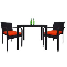 Palm 2 Chair Dining Set, Orange Cushion