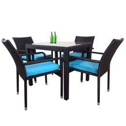 Palm 4 Chair Dining Set, Blue Cushion