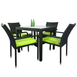 Palm 4 Chair Dining Set, Green Cushion