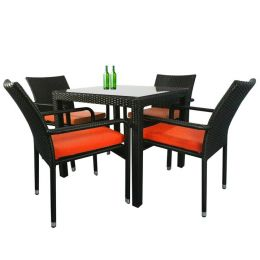 Palm 4 Chair Dining Set, Orange Cushion