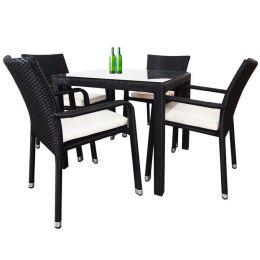 Boulevard 4 Chair Dining, White Cushions