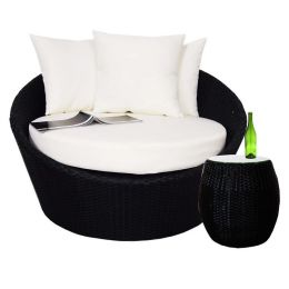 Pluto Round Sofa with Coffee Table, White Cushion