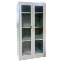 Keith M. Full Height Glass Door Metal Cabinet (2 Door)