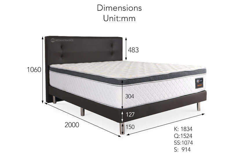 The dimensions of the Century mattress and bed frame bundle.
