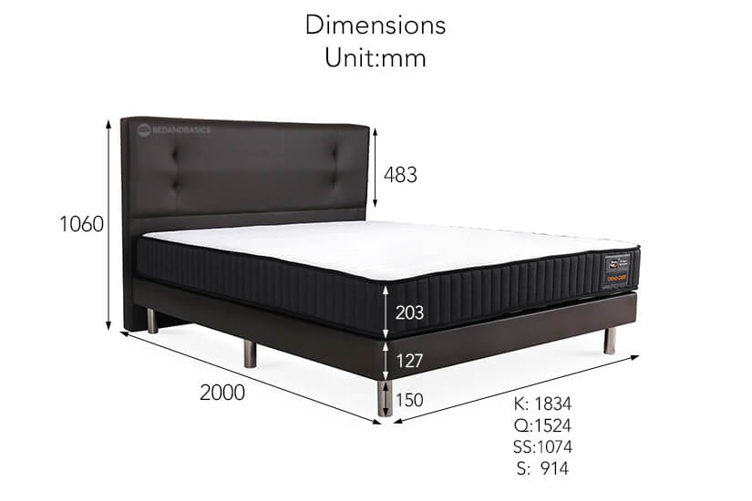 The dimensions of the Orthocrest bed bundle.
