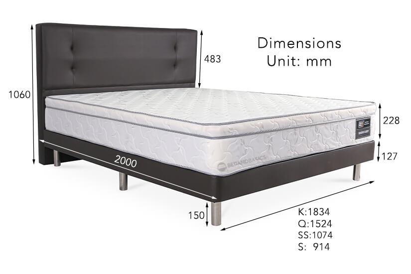 The dimensions of the Sleepy Night Tender Sleep Spring Mattress + Bed Frame Bundle.