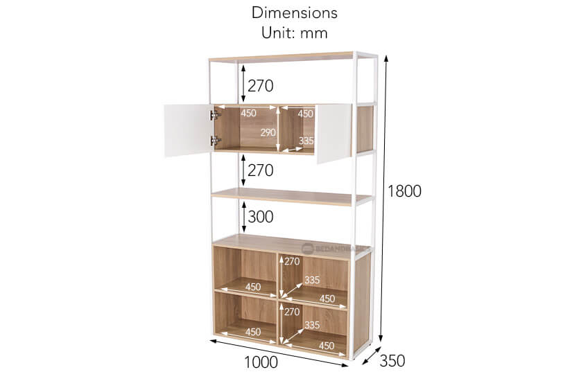 Sindri Display Cabinet overall dimensions.