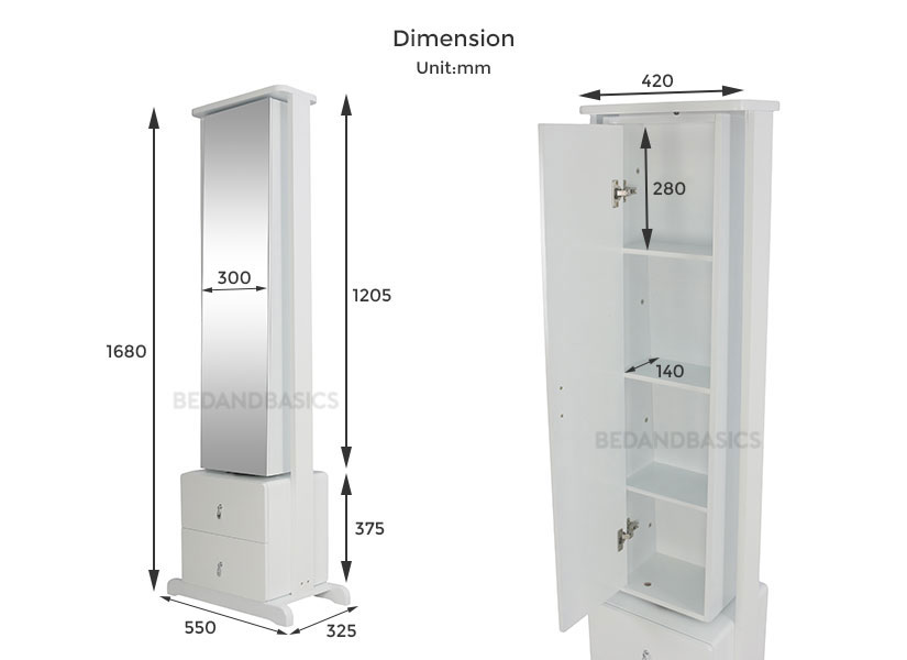 dimensions of the standing mirror. Bedandbasics.sg is the best furniture online shop in Singapore SG.