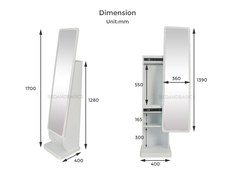 The dimensions of the Carley standing mirror. Bedandbasics.sg is the best furniture online shop in Singapore SG.