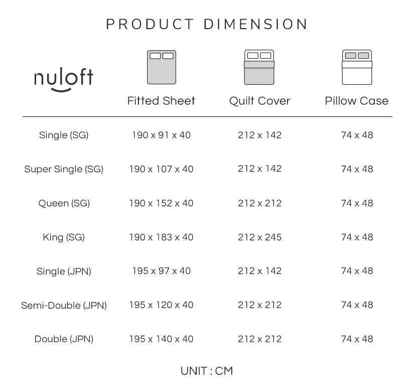 The dimensions of the Nuloft Radiant Bedsheet Set (Japan & SG Size).