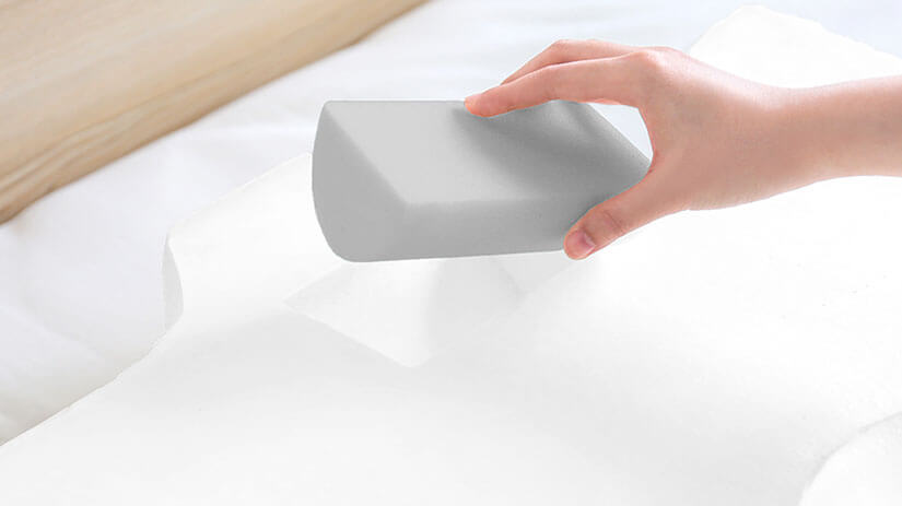 A high-density urethane foam is placed in the core of the pillow.