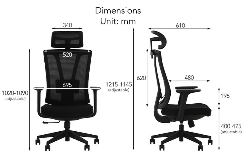 The dimensions of the Fallon Office Chair.